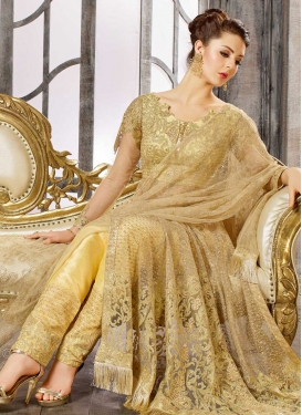 Embroidered Work Net Cream and Gold Pant Style Designer Salwar Suit