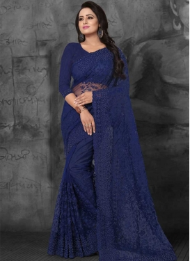 Embroidered Work Net Designer Contemporary Style Saree