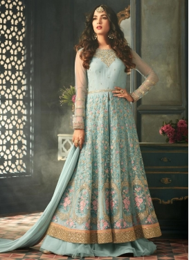 Embroidered Work Net Designer Kameez Style Lehenga Choli