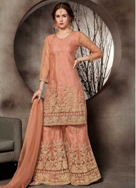 Embroidered Work Net Designer Palazzo Salwar Suit