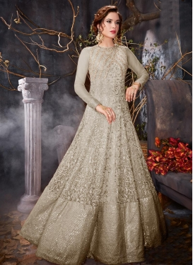 Embroidered Work Net Floor Length Anarkali Salwar Suit