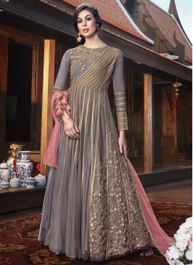 Embroidered Work Net Floor Length Designer Suit