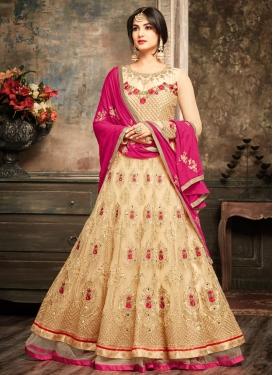 Embroidered Work Net Floor Length Salwar Suit