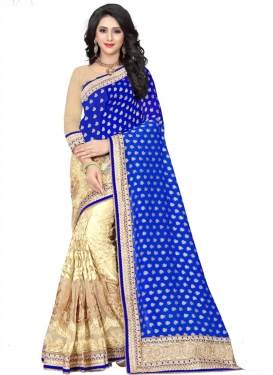 Embroidered Work Net Half N Half Designer Saree For Ceremonial