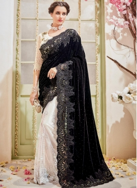 Embroidered Work Net Half N Half Designer Saree For Festival