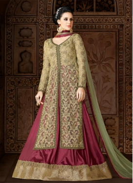 Embroidered Work Net Kameez Style Lehenga Choli