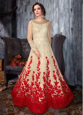 Embroidered Work Net Long Length Designer Anarkali Suit