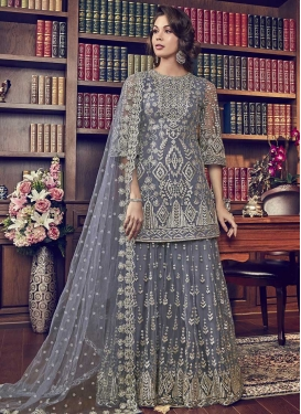 Embroidered Work Net Sharara Salwar Kameez