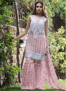Embroidered Work Net Sharara Salwar Suit