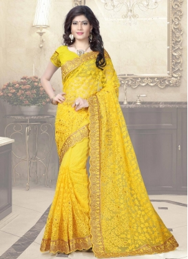 Embroidered Work Net Traditional Saree For Party