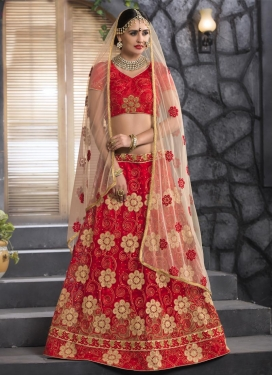 Embroidered Work Net Trendy A Line Lehenga Choli