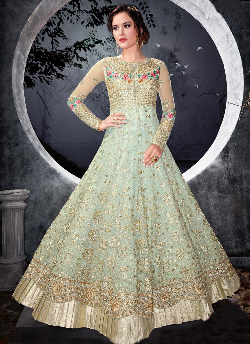 Embroidered Work Net Trendy Anarkali Salwar Kameez