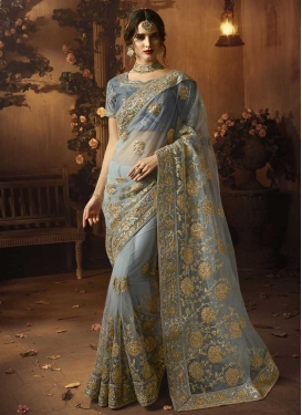 Embroidered Work Net Trendy Saree For Ceremonial