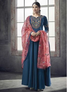 Embroidered Work Nylon Readymade Classic Gown