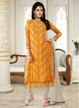 Embroidered Work Off White and Orange Faux Georgette Churidar Salwar Kameez