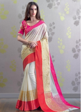 Embroidered Work Off White and Rose Pink Contemporary Saree