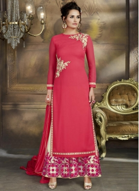 Embroidered Work Off White and Rose Pink Faux Georgette Palazzo Style Pakistani Salwar Kameez