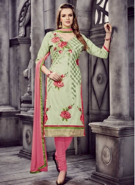 Embroidered Work Olive and Pink Trendy Churidar Suit