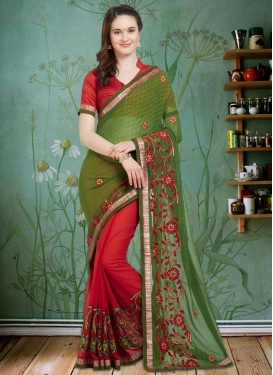 Embroidered Work Olive and Red Half N Half Saree