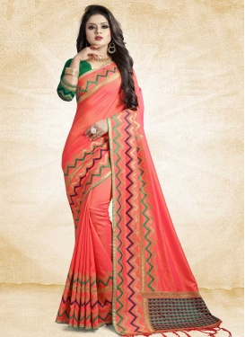 Embroidered Work Olive and Salmon Classic Saree