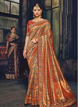 Embroidered Work Orange and Red Classic Saree