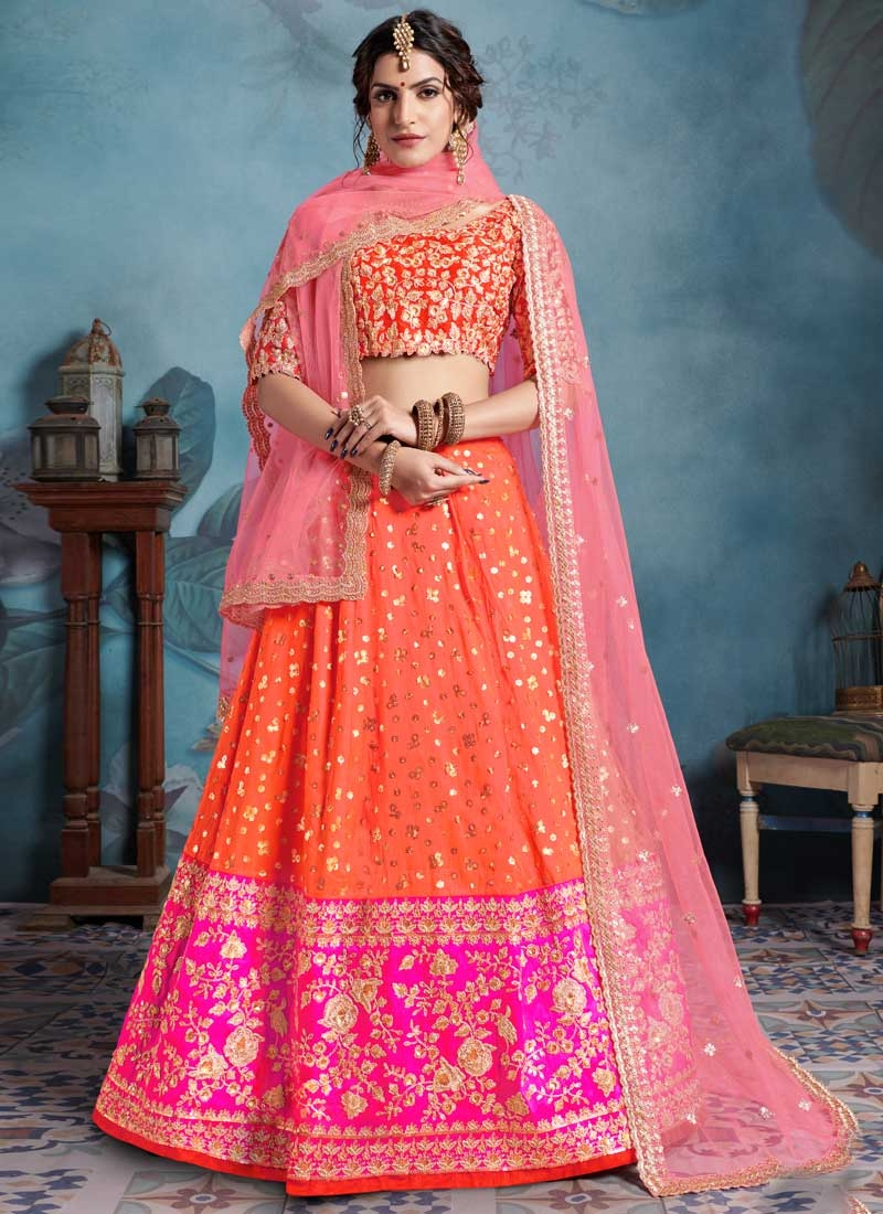 Embroidered Work Orange and Rose Pink Art Silk A - Line Lehenga
