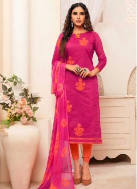 Embroidered Work Orange and Rose Pink Churidar Salwar Kameez