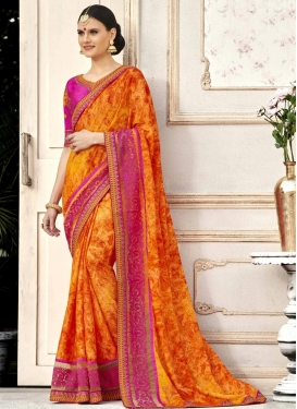 Embroidered Work Orange and Rose Pink Classic Saree