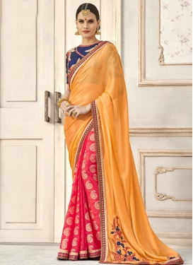 Embroidered Work Orange and Rose Pink Half N Half Trendy Saree