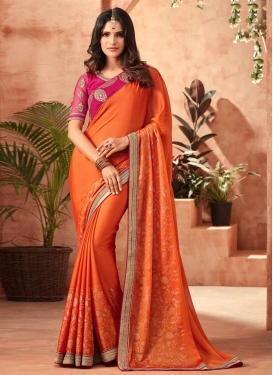 Embroidered Work Orange and Rose Pink Traditional Designer Saree