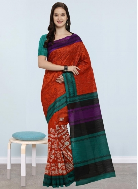 Embroidered Work Orange and Teal Contemporary Style Saree
