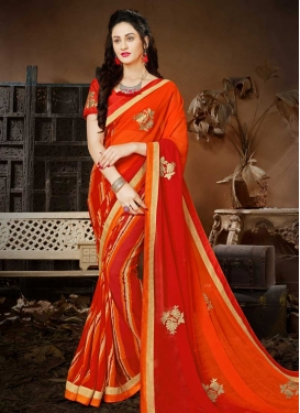 Embroidered Work Orange and Tomato Trendy Classic Saree