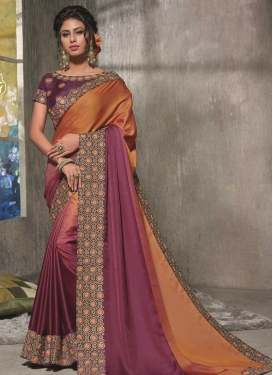 Embroidered Work Orange and Wine Traditional Designer Saree