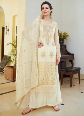Embroidered Work Organza Palazzo Style Pakistani Salwar Suit