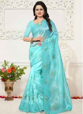 Embroidered Work Organza Traditional Saree