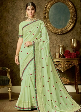 Embroidered Work Organza Trendy Classic Saree For Festival