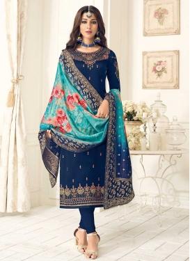 Embroidered Work Pakistani Straight Salwar Suit
