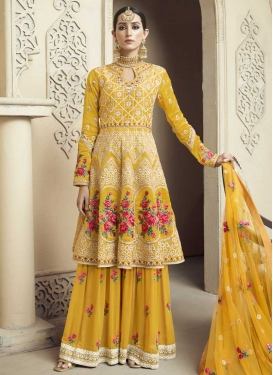 Embroidered Work Palazzo Designer Salwar Suit