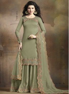 Embroidered Work Palazzo Salwar Kameez For Ceremonial