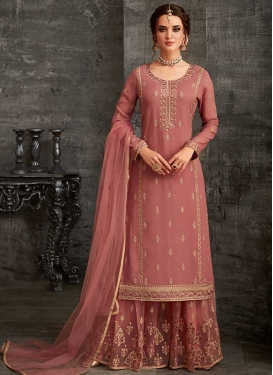 Embroidered Work Palazzo Style Pakistani Salwar Kameez