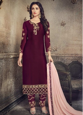 Embroidered Work Pant Style Designer Salwar Kameez For Festival