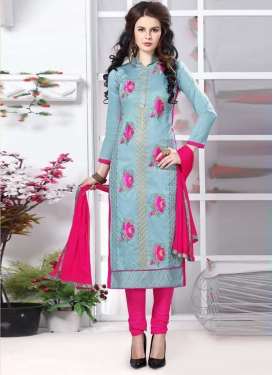 Embroidered Work Pant Style Straight Salwar Suit