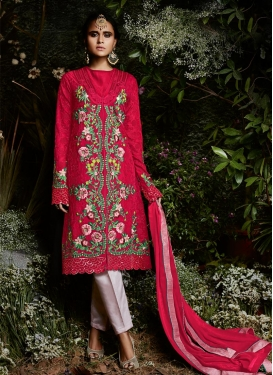 Embroidered Work Pant Style Straight Suit