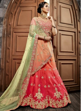 Embroidered Work Peach and Rose Pink Art Silk Trendy Lehenga Choli