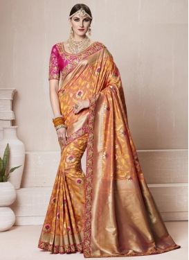 Embroidered Work Peach and Rose Pink Classic Saree