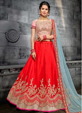Embroidered Work Pink and Red Silk A Line Lehenga Choli