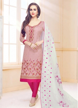 Embroidered Work Pink and Rose Pink Trendy Straight Salwar Kameez