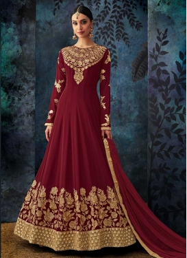 Embroidered Work Pure Georgette Anarkali Salwar Kameez