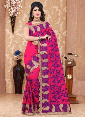 Embroidered Work Pure Georgette Contemporary Saree