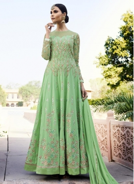 Embroidered Work Pure Georgette Long Length Salwar Kameez